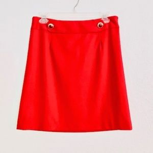 LOFT | Short Red Skirt Gold Buttons Side Zip Sz 2